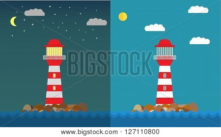 illustration with the image of a beacon at night and in the afternoon