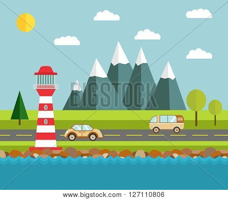 Flat illustration with the image of the sea with a beacon of cars and mountains