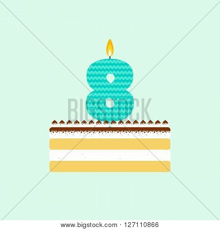 Vector tiramisu birthday cake with a candle number 8 in flat style. Icon of dessert with mascarpone cream and cocoa. For birthday party invitation and cards design. Celebrating the eighth birthday.