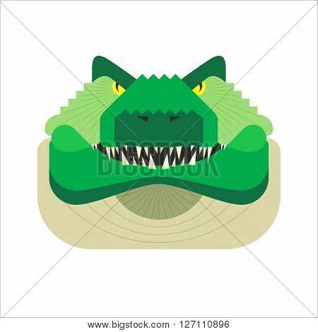 Vector stylized geometric crocodile illustration isolated on white background. Flat style alligator head icon. Angry aggressive wild croc. For web app logo design.