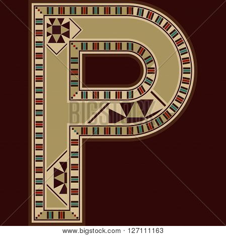 Oriental Wooden Mosaic Decorated Capital Letter P