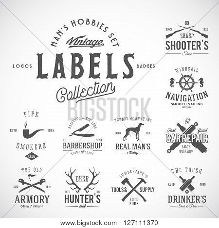 Set of Vintage Icons, Labels or Logo Templates With Retro Typography for Mens Hobbies Such as Yachting, Hunting, Arms, Dog Breeding, Car Repair, etc. Isolated.