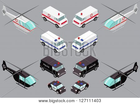 isometric illustration with the image of the helicopter and car of the emergency services of the police and medical helicopter and police and medical car