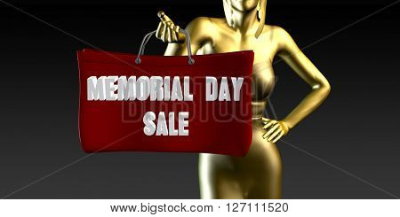 Memorial Day Sale or Sales as a Special Event 3D Illustration Render
