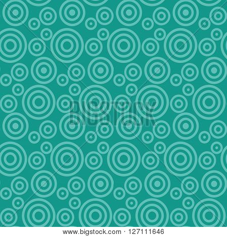 Modern seamless pattern of concentric thin rings monochrome green background