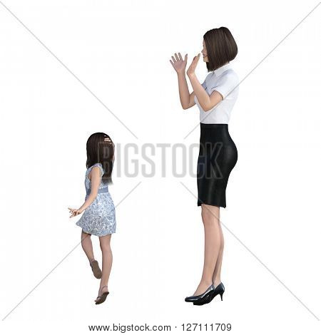 Mother Daughter Interaction of Girl Posing as Model as an Illustration Concept 3D Illustration Render