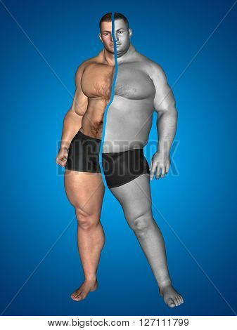 3D illustration of a concept or conceptual fat overweight vs slim fit with muscles young man on diet on blue background