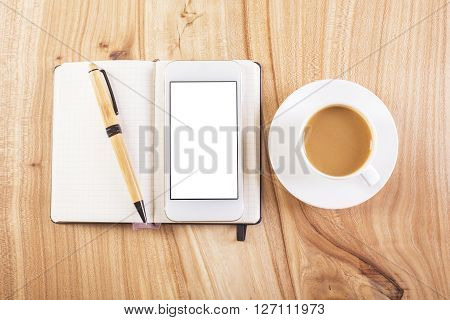 Whte Smartphone And Coffee Top