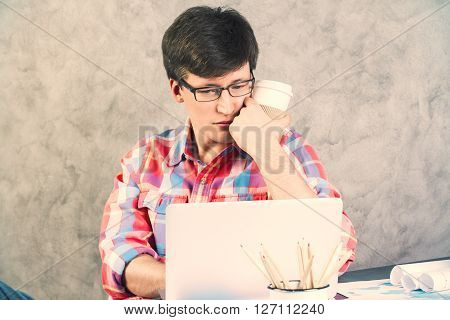 Worried Man Looking At Screen