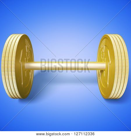 Euro coin dumbbell on blue background. 3D Rendering