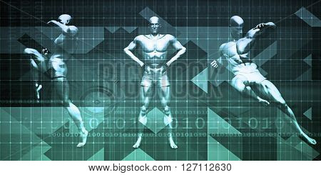 Fighting Background as a Abstract Concept with Men Ready to Fight 3D Illustration Render