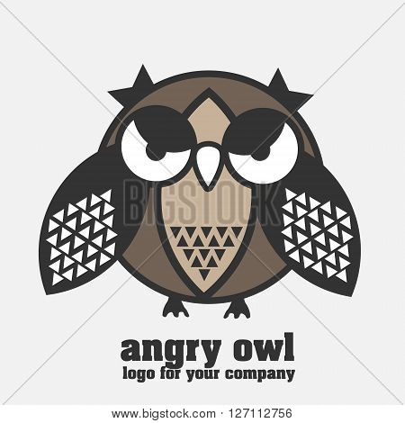 Angry owl logotype Angry owl logo in pastel colors