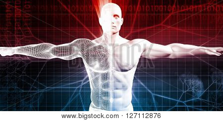 Disruptive Technology of the Human Body and Mind 3D Illustration Render