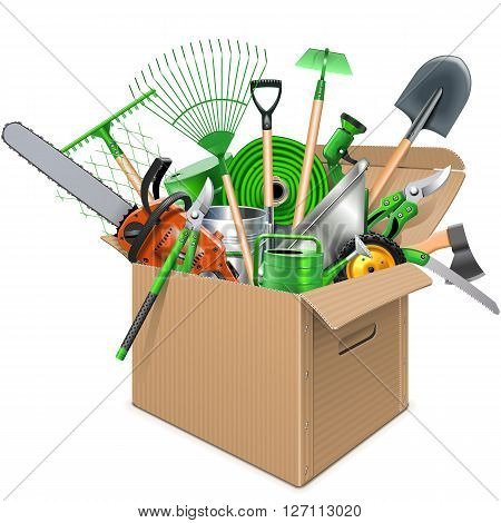 Vector Carton Box with Garden Accessories isolated on white background