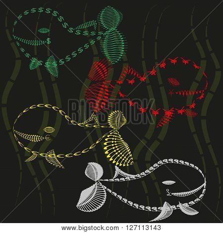 Set of four bright cheerful colored financial whale