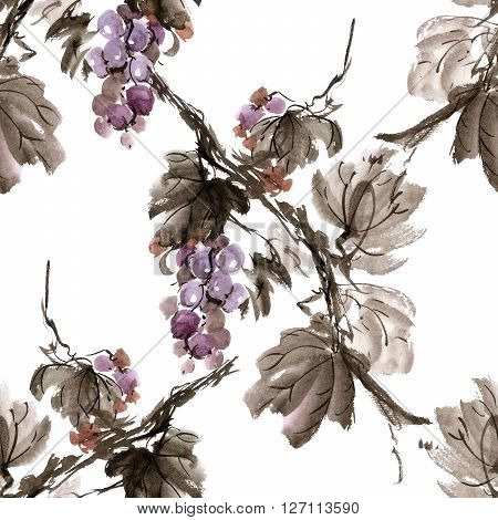 Watercolor and ink illustration of grapevine. Gohua sumi-e u-sin painting. Seamless pattern.
