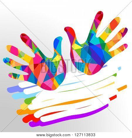 hands colorful illustration background