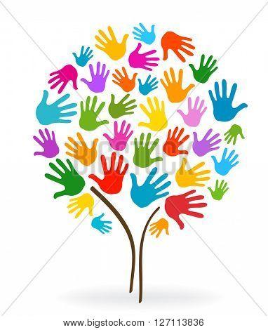tree hands illustration background