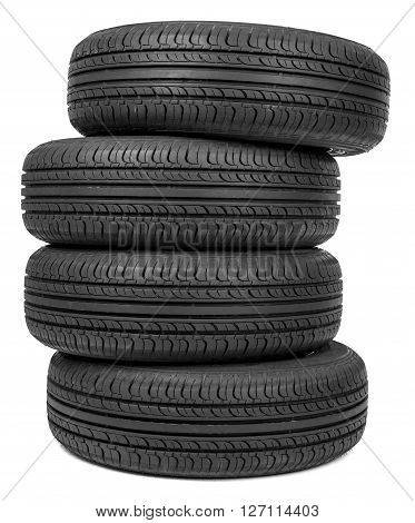 Column of tires, isolated on the white background