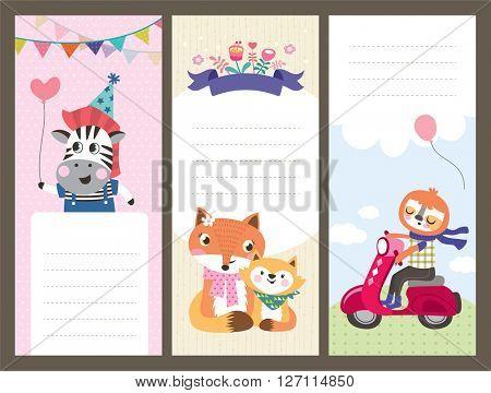 Cute cartoon animals gift tags/ greeting card