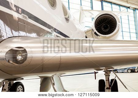 Close Up Wing Detail On An Executive Jet