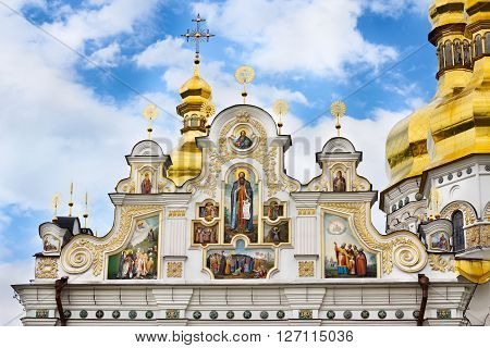 Kiev-Pechersk Lavra Orthodox monastery facade's fragment of the Assumption Church (Uspenskiy) Kiev. Ukraine