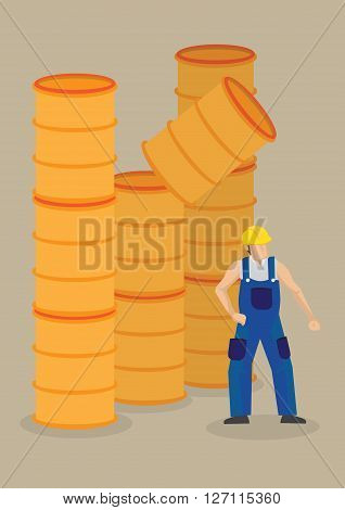Worker under a falling barrel. Vector cartoon illustration on falling objects hazards and workplace accident concept isolated on plain background.