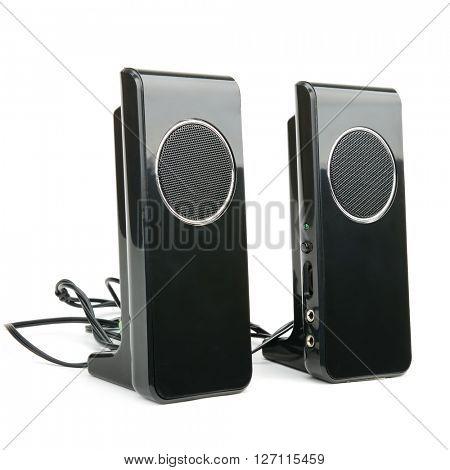 Black speakers isolated on white background
