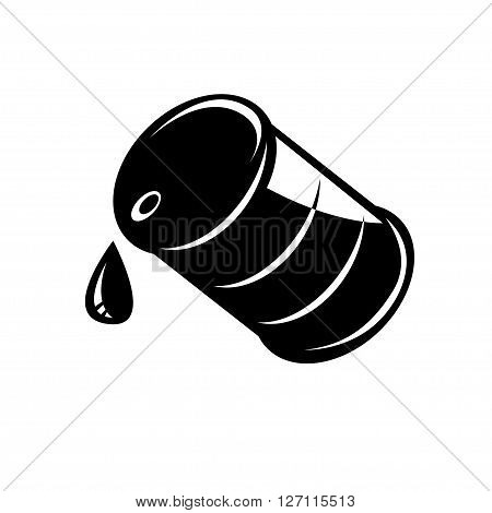 Vector black oil barrel icon. Oil barrel sign.