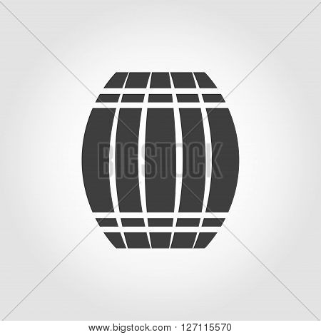 Vector black barrel icon on white background. Barrel sign.