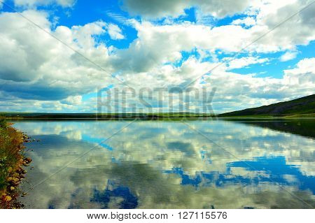 Lake nord Iceland and landscape reflex mirror ** Note: Visible grain at 100%, best at smaller sizes