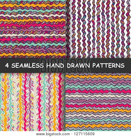 Set of four colorful seamless hand drawn graphic striped patterns. Texture with striped background. Made in vector