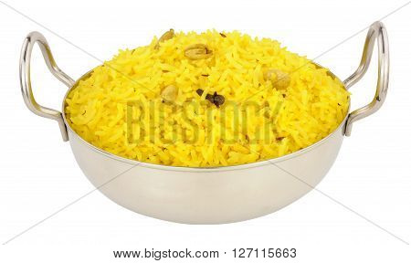 Yellow pilau rice in a stainless steel bowl with handles isolated on a white background