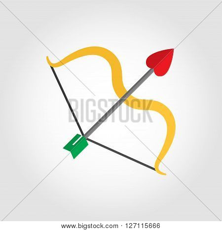 Vector flat cupid bow icon on grey background. Valentine's day Cupid bow. Cupid bow and arrow flat icon