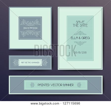 Vector modern elegant postcard design templates, wedding invitation, banner, vignette cards design in soft colors
