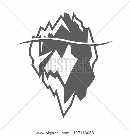 Vector grey iceberg icon on white background. Iceberg mountain shape
