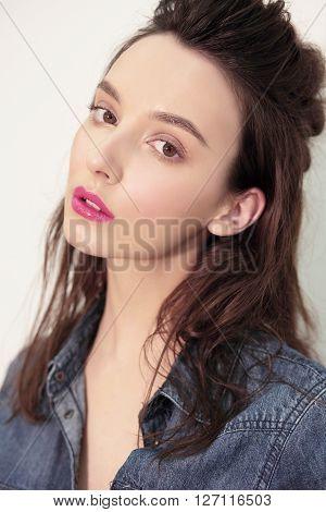 Closeup Portrait. Model Woman.