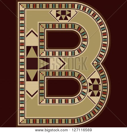 Oriental Wooden Mosaic Decorated Capital Letter B