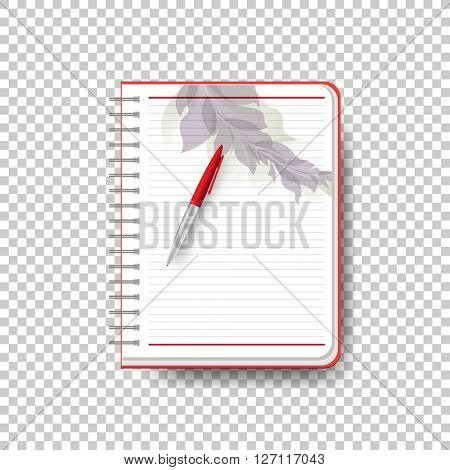 open notebook with foliage decoration. eps10 vector