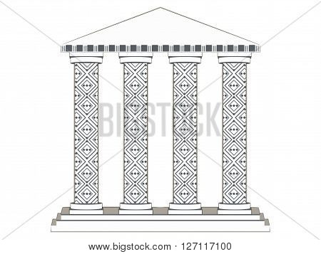 Building With Columns. Paper Building. Column. Doric, Roman Style. Vector Illustration.