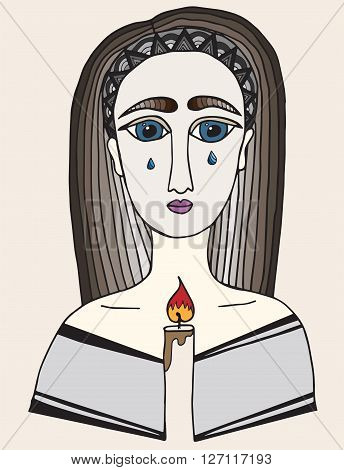 Multicolor girl with a tear on face holds a candle in hands. Pray girl.