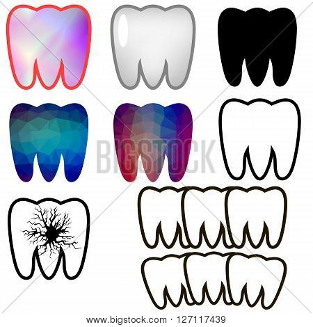 Set of Rotten Teeth and Healthy Isolated on Blue Background. Dental Treatment. SevereToothache. Filled Tooth. Symbol of Carre and Health.