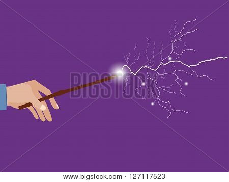 Magic wand in hand. Magic lightning. Rose quartz and serenity violet background. Vector illustration.