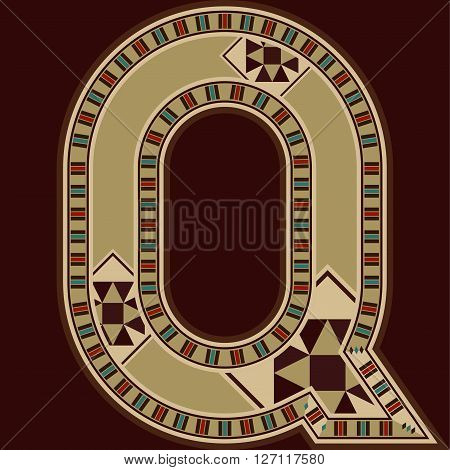 Oriental Wooden Mosaic Decorated Capital Letter Q
