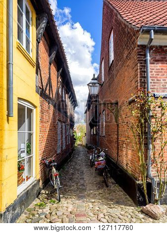 Homes on cobbled streets in Ribe in Denmark