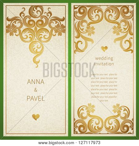 Vintage Ornate Cards With Victorian Style.