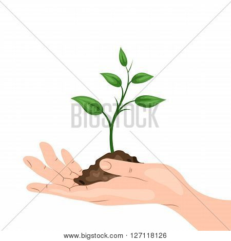 A man's hand holding a sprout with a handful of ground. Environmental protection, ecology concept illustration in flat style. Earth Day or World Environment Day.