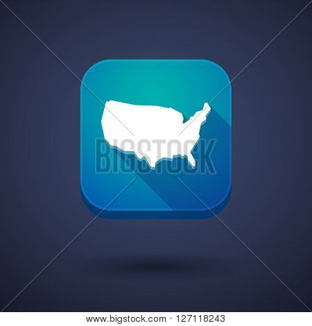 Square Long Shadow App Button With  A Map Of The Usa