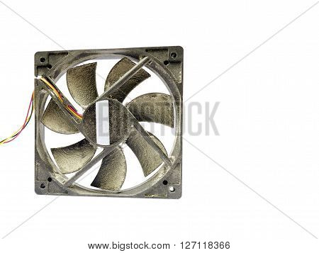 Computer fan covered in a lot of dust isolated on white