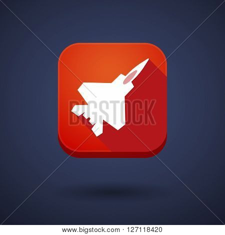 Square Long Shadow App Button With A Combat Plane